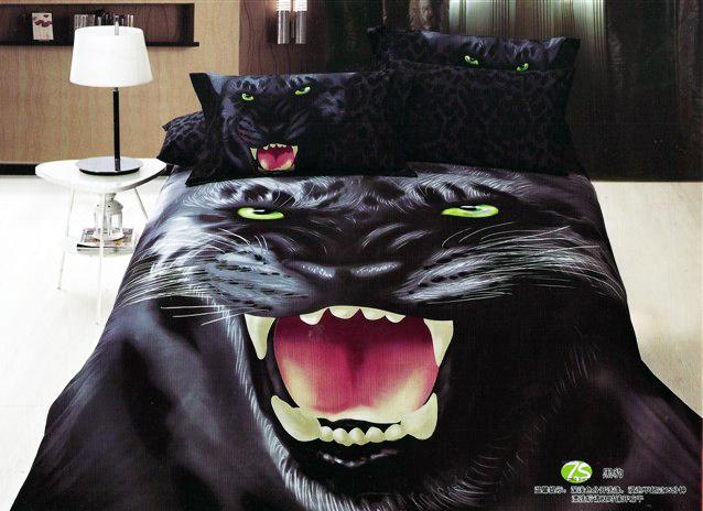 Panther Bedding Set Black 3D Queen 100% Cotton Animal Bed ...