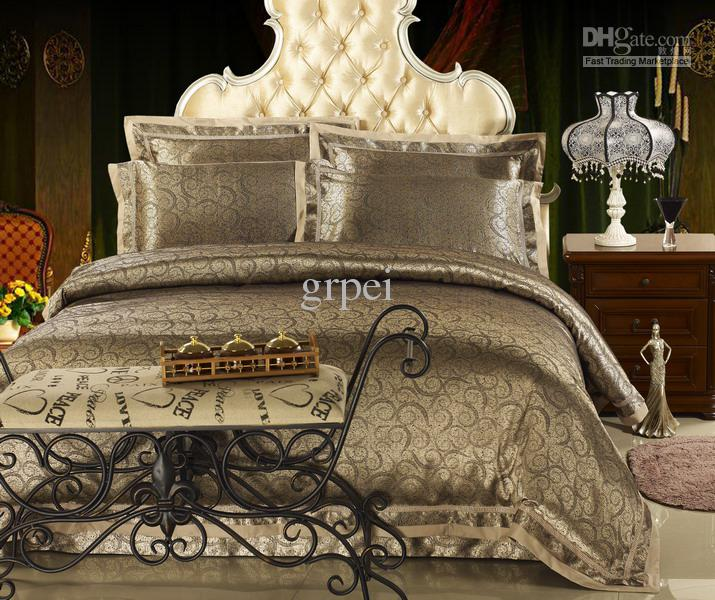 Wholesale Bedclothes - Buy Luxury Brown Satin Jacquard Bedding ...