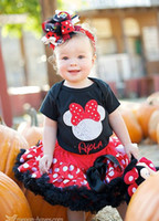 Wholesale 4 baby girls summer clothing set Short Sleeve T Shirt Tutu Skirt Minnie Mouse Skirt AL8