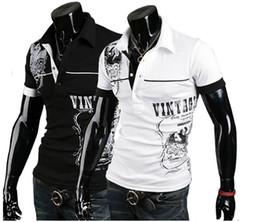 Wholesale Men s Stylish Polo Shirts Slim Fit short sleeves Casual T Shirt Letter printingTops M XXL