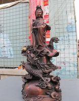 art statue - 29 quot large Chinese Folk Red Bronze Kwan Yin Ride Dragon Bodhisattva Buddha Statue