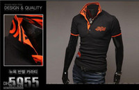 Wholesale NEW Arrived embroidered Men s Slim shirt POLO short sleeve Paul dropship short sleeve T shirt jb
