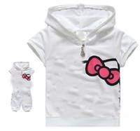 achat en gros de filles de halloween costume rose-Bébé filles fixe Filles coton dessin animé chat imprimé à manches courtes costume blanc rose 9designs choisir