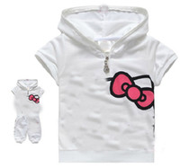 Girl baby cat suit - baby girls sets Girls cotton cartoon cat printed short sleeved suit pink white designs choose