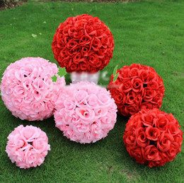 Wholesale cm cm Wedding Decorations Silk Kissing Pomander rose Flowers Balls Wedding bouquet