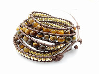 Wholesale 2013 mm tiger eye bead wrap bracelet new design handmade wrap leather bracelet Free Shippi