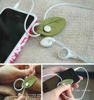 Wholesale Tree Leaf Earphone Winder Felt Cord Reel Digital Line Hubs Wire Coil Cable Manager Phone Pendant
