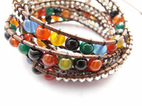 Wholesale 2013 mm mixed color agate bead wrap bracelet new design handmade wrap leather bracelet