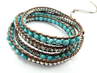 Wholesale 2013 mm blue turquoise bead wrap bracelet new design wrap immitation leather bracelet mm
