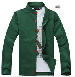 Wholesale Green promotion men s standing collar cardigan hoodie slim fit casual man long sleeve thin mode