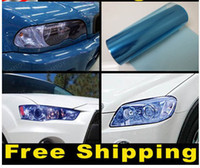 Wholesale 12 x quot Blue Tint Headlight Fog Light Vinyl Film black yellow Headlight Tailight Fog Light Overlay