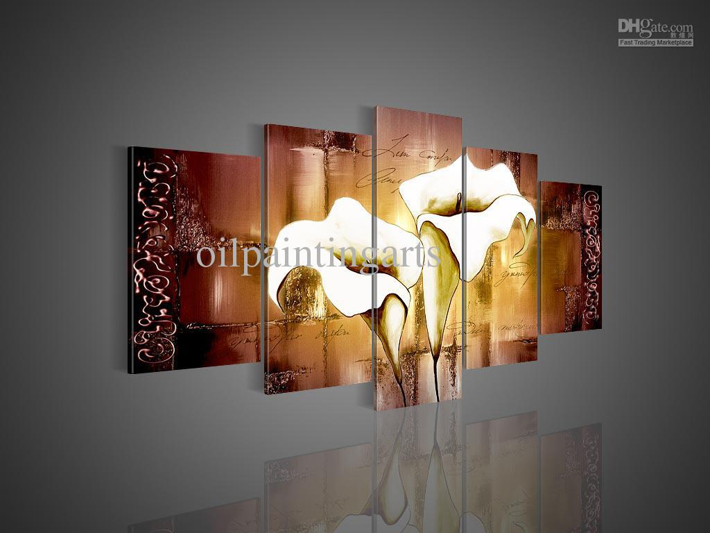 2017 5 panel wall art hand painted white lily painting red