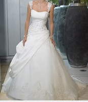 Wholesale 2013 Strapless Floor Length Ball Gown long sleeve Taffeta Spaghetti Chapel Train Wedding Dresses