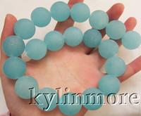 Wholesale 8SE07550a mm Frosted Blue Quartz Round Beads DIY