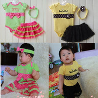 Wholesale Fashion Baby Kids Clothes Romper Tutu Skirt Headband Princess suits hot girls dress
