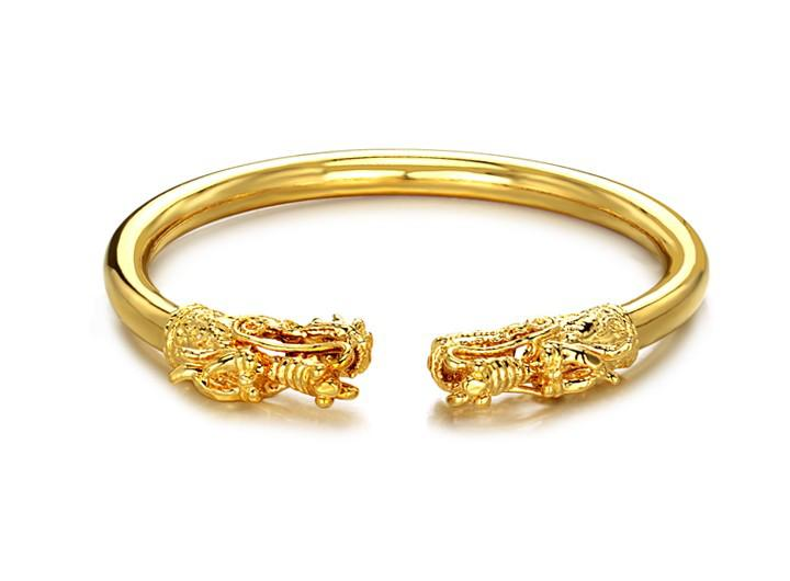2017 Opk Jewellry 18k Gold Plated Bangle 17.5cm Carved Dragon ...