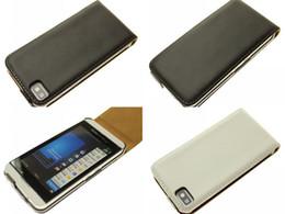 Wholesale Flip Real Genuine Leather Case Cover Skin Protector for BlackBerry Z10 BB10 BB Black White