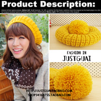 Wholesale C small mo official paragraph ginger yellow big pompon ball candy color women s knitted hat knitted hat