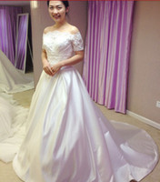 Wholesale 2013 Strapless Floor Length Satin Lace Jacket Sleeve Chapel Train Wedding Dresses