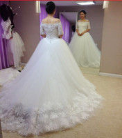 Wholesale 2013 Strapless Floor Length Organza Lace Jacket Sleeve Chapel Train Wedding Dresses