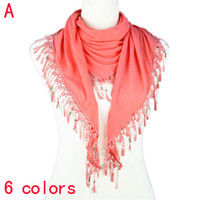 Plain Dyed Long Plain Lace triangular Tassel scarf with jewelry beads,NL-1891