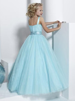 Girl little girl pageant dresses - Blue Ball Gown Little Girl Pageant Dresses Double Strapped Beaded Pleated Ruched Tulle Dresses