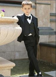 Wholesale Custom Made Kid Notch Collar Children Wedding Suit Boys Attire Jacket Pants Tie Waistcoat G969