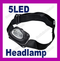 Wholesale 5 LED white Hiking Head Flash Light Lamp Super Bright Adjustable Head Strap New