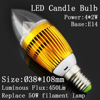Wholesale DHL X2W W Dimmable E27 E14 led candle bulbs Crystal LED light Silver golden shell Replace W incandescent bulbs