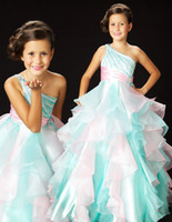 Sweep Train One Shoulder Little Girls' Pageant Dresses One Shoulder Beads Ruffle Organza Ball Gown Flower Girl Dress 4775S