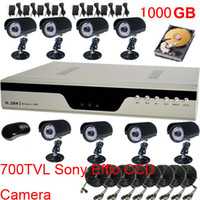 Wholesale 8CH DVR CCTV System IR TVL Sony Effio CCD Waterproof Security Camera With TB HDD