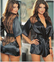 Wholesale Fashion Black Satin Black Sexy Lingerie Costume Pajamas underwear Sleepwear Robe and G String W1221