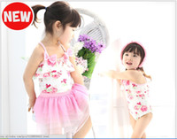 2-5-7-9-11 2-10year three-piece Baby bathing suit swimwear girl condole belt floral connection skirt three-piece kids swimsuit