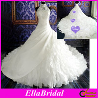 Wholesale 2013 Hot White A Line Cathedral Train Ruffle Beaded High Neck Halter Bridal Wedding Dresses Ella0476