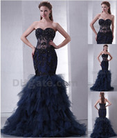 Wholesale 2013 Evening Dresses Sweetheart Beaded Appliques Satin Ruffles Skirt Mermaid Prom Dresses DH00267