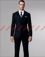 Wholesale Perfect style Navy blue Groom Tuxedos Best Man Suits Prom Clothing jacket pants vest tie AA