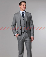 Wholesale Perfect suits Notch Lapel Groom Tuxedos Best Man Suits Prom Clothing jacket pants vest tie AA