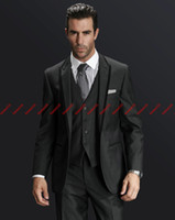 Wholesale Perfect suits Charcoal Groom Tuxedos Best Man Suits Prom Clothing jacket pants vest tie AA