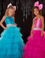 Wholesale Hot Pink amp Blue Little Girl s Pageant Dresses One Shoulder Sequin Beads Tulle Flowers Skirt S
