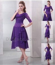 Wholesale 2013 A Line Half Sleeves Summer Chiffon Applique Beaded Tea Length Mother of Bride Dresses DH00296