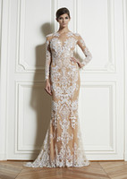 Lace Long Sleeve Sweep Train Zuhair Murad Formal Dresses 2013 Sexy Long Sleeve Lace Sheath Evening Dresses Dresses ZH115