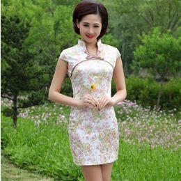 Wholesale 2013 New Flower Printing Women Cotton Dress Fashion Chinese cheongsam Sleeveless