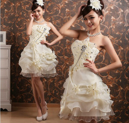 New Strapless Organza Beading Mini Ball Gown Hands making Flower Bridesmaid Dresses