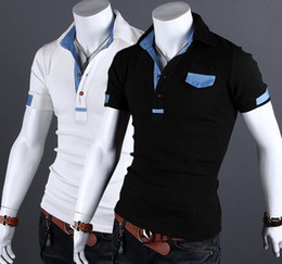 Wholesale 2013 new Denim mix casual short sleeve men s t shirts Button men s t shirts men s polo shirts