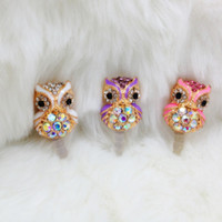 Wholesale Crystal Diamond Jewelry Shinny Owl Dust plug Dustproof For Iphone SAMSUNG HTC MM
