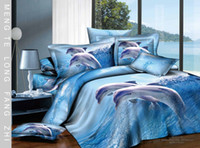 Adult Twill blue Lovely Dolphin Blue Ocean Queen Full Bedding Sets Combed Cotton Quilt Duvet CoverComforter Set 4-5PC