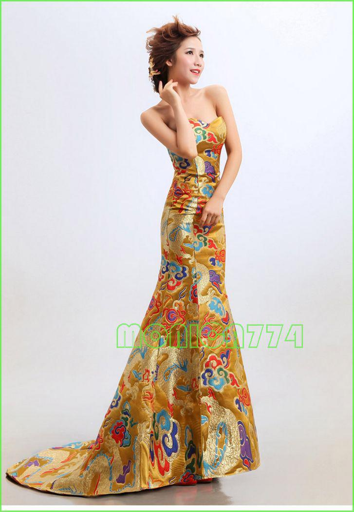 Customized GoldRed Color Chinese Embroidery Cheongsam