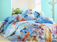 100% Cotton Hotal Children free shipping brand new blue sea cartoon Nemo pattern bedspread queen cotton bedding comforter quilt