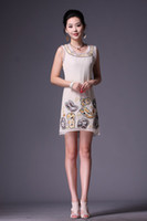 Wholesale 2013 new design embroidery hand made perl silk organza elegant round neck sleeveless woman dress