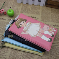 Wholesale Kawaii Paper doll PU leather Design pencil bag amp pouch Pen bag FreeShipping